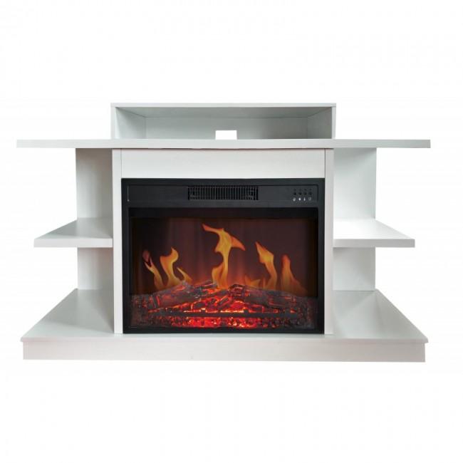 Meuble TV - avec cheminée électrique - Fuji blanc CHEMIN' ARTE