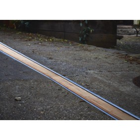 Caniveau Self 100 - avec grilles Bois Chêne -  fente 8 mm - sans pentes ACO PASSAVANT