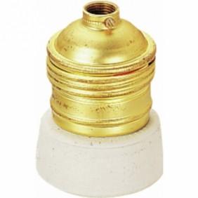 Douille à collerette porcelaine - Acier laitonné - Culot E27 EBENOID