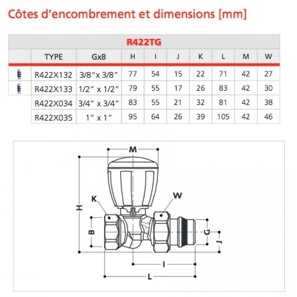 Corps De Robinet Thermostatique Droit R422tg Filetage 12x17
