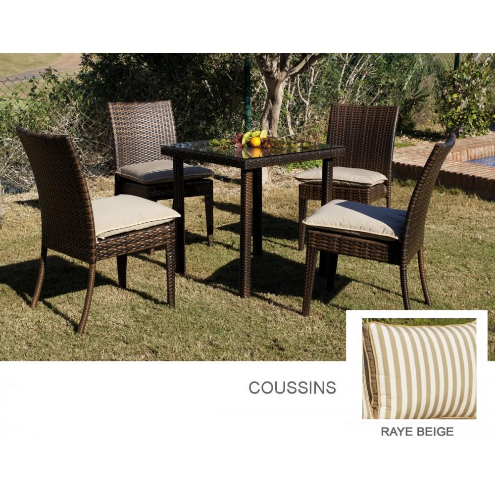 Table de jardin marzia 80 et 2 chaises avec coussins ray for Jardin 80