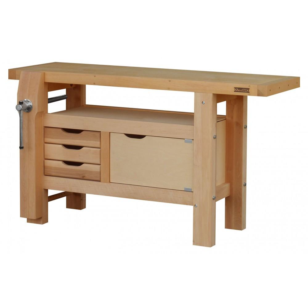 etabli bois professionnel 1 50 m caisson 3 tiroirs. Black Bedroom Furniture Sets. Home Design Ideas