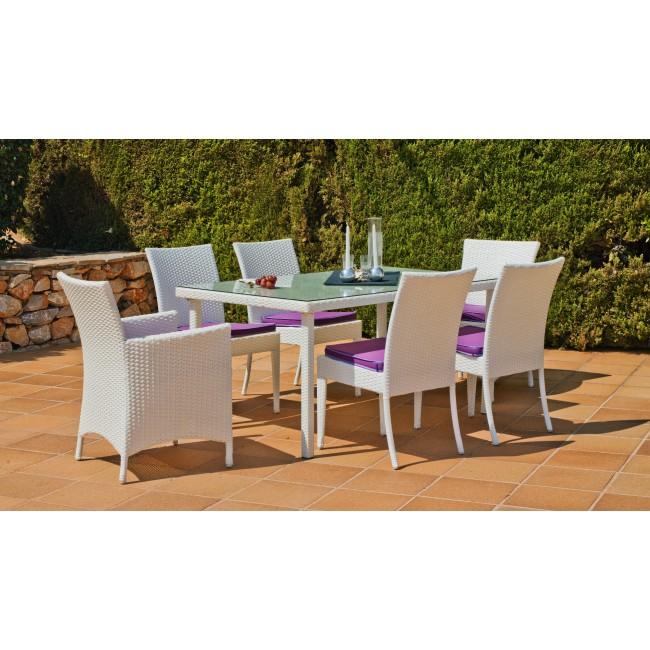 Table de jardin Villalba 150 : 1 table + 4 chaises + 2 fauteuils et coussins INDOOR OUTDOOR