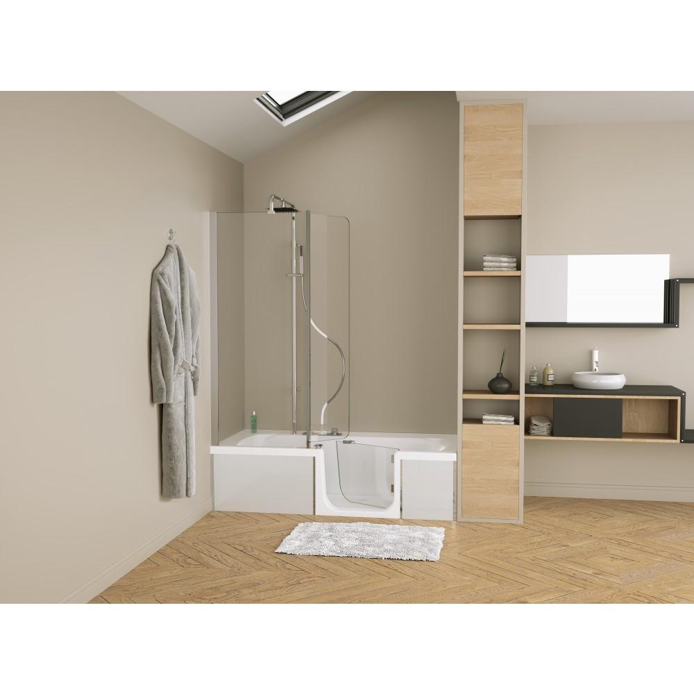 Pare baignoire combin baignoire douche robinetterie duo design 3 kinedo bricozor - Baignoire douche design ...