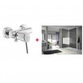 Une Paroi de douche sérigraphiée 120cm achetée - Un mitigeur Grohe offert LEDA