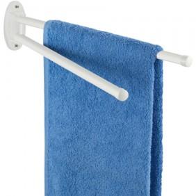 Porte serviette mural pour salle de bain - 2 bras mobiles - Blanc WENKO