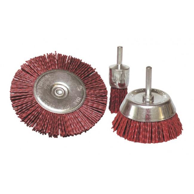3 brosses pinceau/circulaire/conique - fil nylon - grain 80 LEMAN