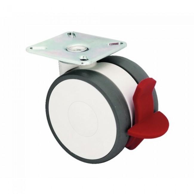 Roulette collectivité, bande polyamide, sur platine, roue pivotante et blocage TENTE