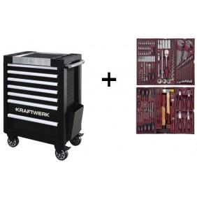 Servante d'atelier 7 tiroirs 150 outils COMPLETO - P407 + lampe offerte KRAFTWERK