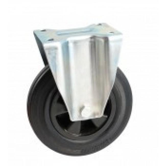 Roulette à bandage caoutchouc noir à platine fixe AVL