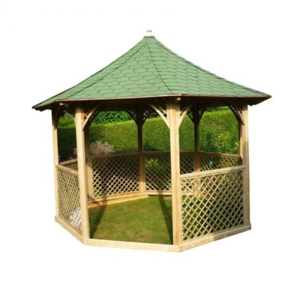 Tonnelle Kiosque De Jardin kiosque de jardin octogonal - diamètre 3,5 m - hauteur 4,1 m - ki c 35  habrita sur bricozor