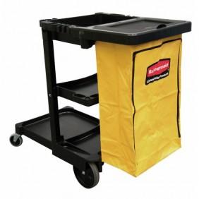 Chariot de ménage - avec sac poubelle 92 L réutilisable RUBBERMAID