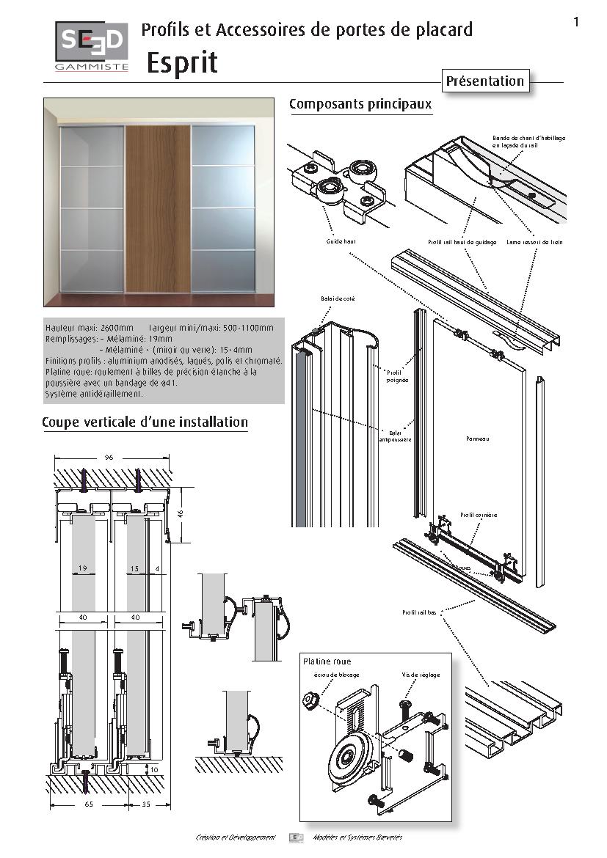 Rail haut pour porte coulissante p300 19 seed bricozor - Porte coulissante scrigno fiche technique ...